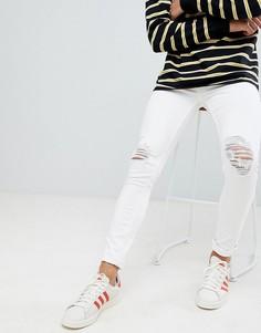 Белые джинсы скинни с рваной отделкой New Look - Белый
