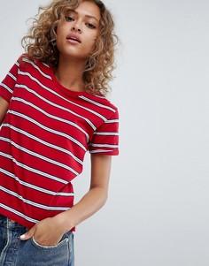 Красная футболка в полоску с овальным вырезом Pull&Bear - Красный