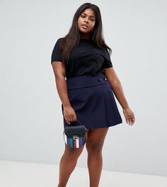 Мини-юбка в складку с поясом ASOS DESIGN Curve - Темно-синий