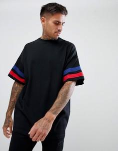Черная oversize-футболка с контрастными вставками на рукавах ASOS DESIGN - Черный