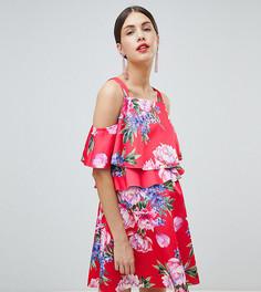 Двухслойное короткое приталенное платье с цветочным принтом ASOS DESIGN Maternity Nursing - Мульти
