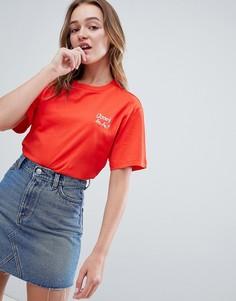 Красная oversize-футболка с круглым вырезом Monki Ooohlala - Красный