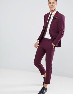 Бордовые облегающие брюки Burton Menswear - Розовый
