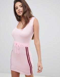 Облегающее платье с полосками сбоку Boohoo - Розовый