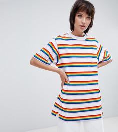 Oversize-футболка в разноцветную полоску Monki - Мульти