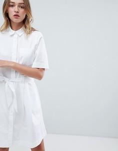 Белое платье-рубашка миди Monki - Белый