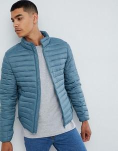 Голубая стеганая куртка Pull&Bear - Синий