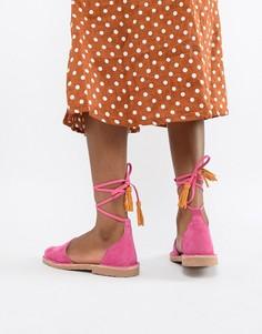 Розовые замшевые сандалии с завязками Solillas Menorcan - Розовый