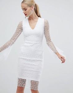 Белое кружевное платье-футляр с рукавами клеш Vesper - Белый