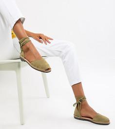 Эксклюзивные замшевые сандалии цвета хаки Solillas - Зеленый