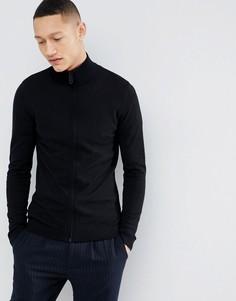 Черная обтягивающая спортивная куртка ASOS DESIGN - Черный