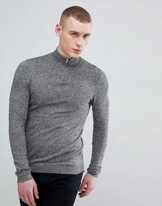Серый хлопковый джемпер с молнией ASOS DESIGN - Серый
