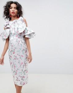 Жаккардовое платье миди с цветочным рисунком и оборками ASOS EDITION - Розовый