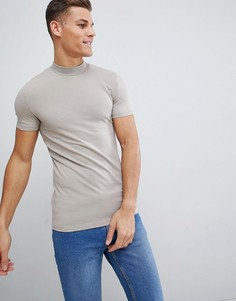 Бежевая обтягивающая футболка с высоким воротником ASOS DESIGN - Бежевый