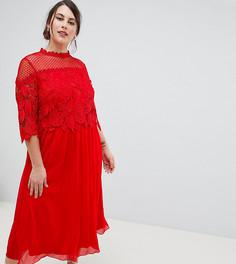 Красное приталенное платье миди с кружевным лифом Little Mistress Plus - Красный