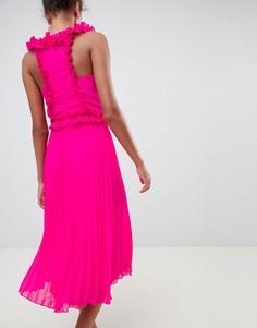 Платье миди с оборками ASOS DESIGN - Розовый