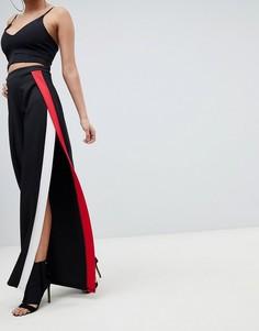 Широкие брюки с полосками и разрезами по бокам PrettyLittleThing - Черный