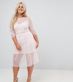 Присборенное платье миди из сетки в горошек ASOS CURVE - Розовый