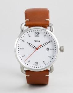 Часы с кожаным коричневым ремешком Fossil Commuter - Коричневый