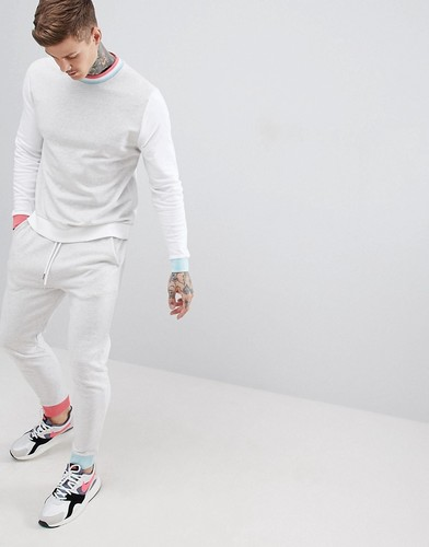 Серый спортивный костюм колор блок (свитшот/джоггеры скинни) ASOS DESIGN - Белый