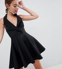 Короткое приталенное платье мини в стиле смокинга ASOS DESIGN Petite - Белый