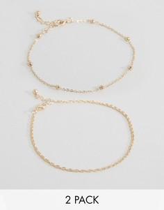 2 браслета на ногу из шнурка и шариковой цепочки ASOS - Золотой
