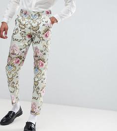 Жаккардовые облегающие брюки пастельной расцветки ASOS EDITION Tall wedding - Синий