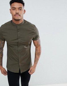 Рубашка скинни цвета хаки ASOS DESIGN - Зеленый