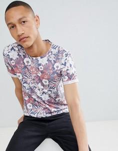 Джинсовая футболка с цветочным принтом Clean Cut - Красный
