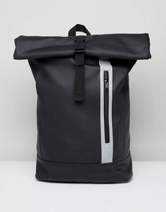 Черный прорезиненный рюкзак с отделением для ноутбука и светоотражающей молнией ASOS DESIGN - Черный