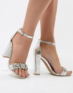 Серебристые босоножки на блочном каблуке с отделкой True Decadence - Серебряный