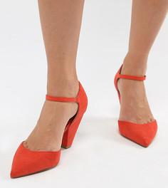 Туфли на каблуке с острым носком для широкой стопы ASOS DESIGN - Красный