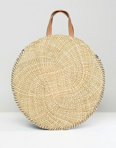 Круглая соломенная сумка-тоут South Beach - Бежевый