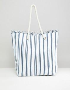 Соломенная пляжная сумка в полоску South Beach - Мульти
