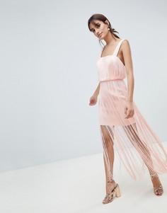 Платье миди с бахромой ASOS DESIGN - Розовый