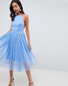 Премиум-платье миди из неопрена и тюля ASOS DESIGN - Синий