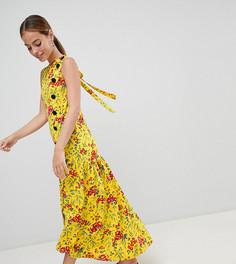 Чайное платье макси с асимметричным краем и цветочным принтом ASOS DESIGN Petite - Мульти