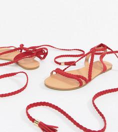 Плетеные сандалии с завязками ASOS DESIGN Fayla - Красный