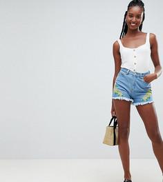 Джинсовые шорты с цветочной вышивкой Influence Tall - Синий