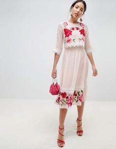 Двухслойное платье с вышивкой ASOS DESIGN - Розовый