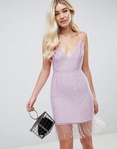 Платье мини с отделкой пайетками и бахромой ASOS DESIGN - Розовый