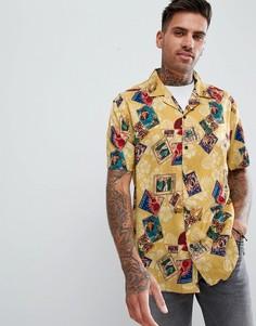Свободная рубашка из вискозы с принтом ASOS DESIGN - Желтый