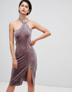 Асимметричное бархатное платье с высоким воротом Forever Unique - Розовый