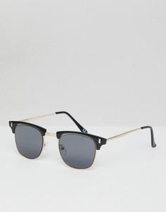 Черные солнцезащитные очки в стиле ретро с золотистой отделкой ASOS DESIGN - Черный