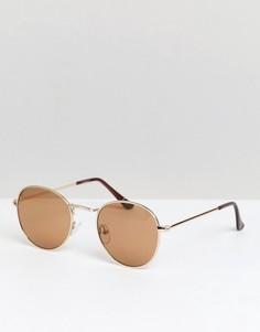 Круглые солнцезащитные очки ASOS DESIGN - Золотой