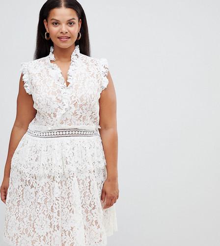 Короткое приталенное платье с кружевной отделкой Alice & You Plus - Белый