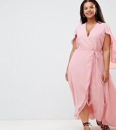 Платье макси с запахом и оборкой Alice & You Plus - Розовый