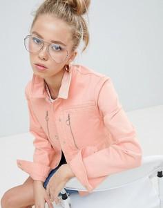 Розовая джинсовая куртка с молниями ASOS DESIGN - Розовый