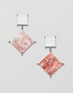 Серьги с камнями под мрамор ASOS - Серебряный