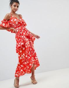 Пляжное платье макси с ярусными оборками и цветочным принтом ASOS DESIGN - Мульти